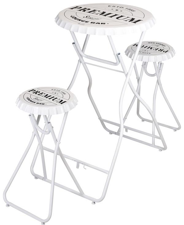 Ceruzo Bartafel met 2 stoelen - wit