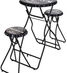 Ceruzo Bartafel met 2 stoelen - zwart
