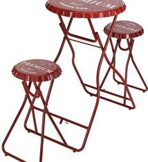 Ceruzo Bartafel met 2 stoelen - rood