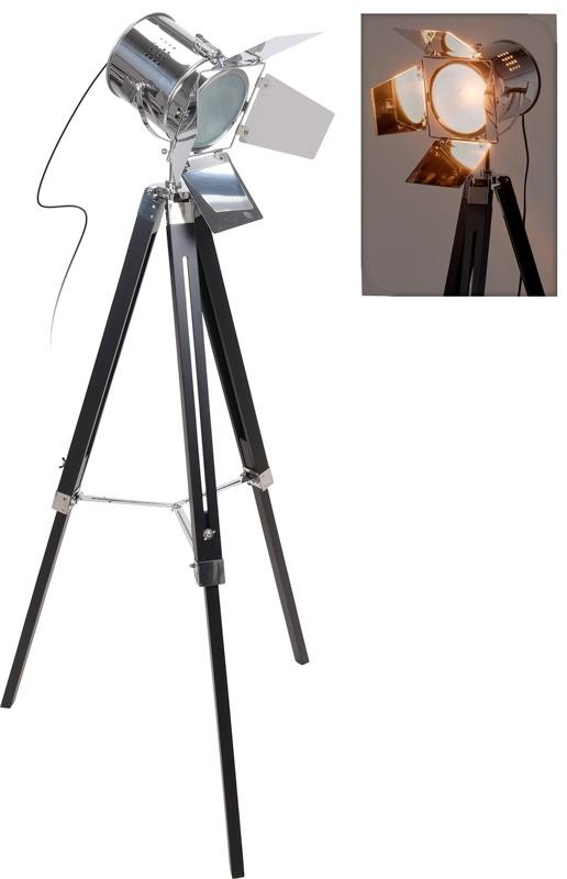 Home & Styling Industriële Staande Lamp - metaal en hout - 143 cm
