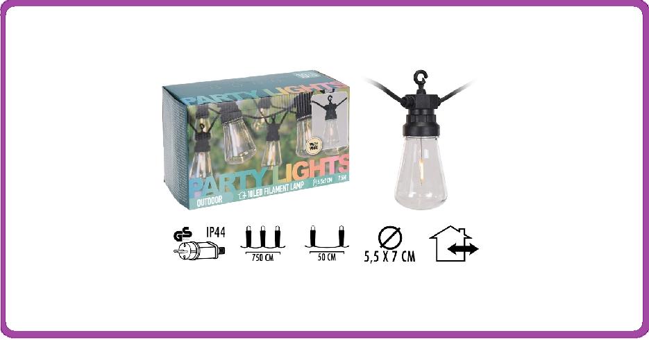Feestverlichting 10 lampen - warm wit