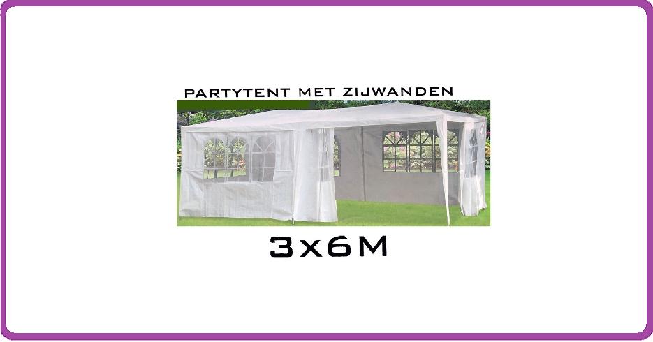Ambiance Partytent met zijwanden - 3x6m - wit