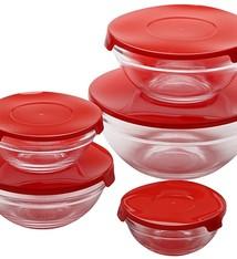 Renberg Glazen Voorraadschalen - 10 schalen + 10 deksels - rood