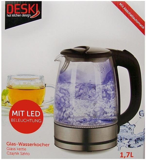 Deski Glazen Waterkoker 1.7L met LED verlichting