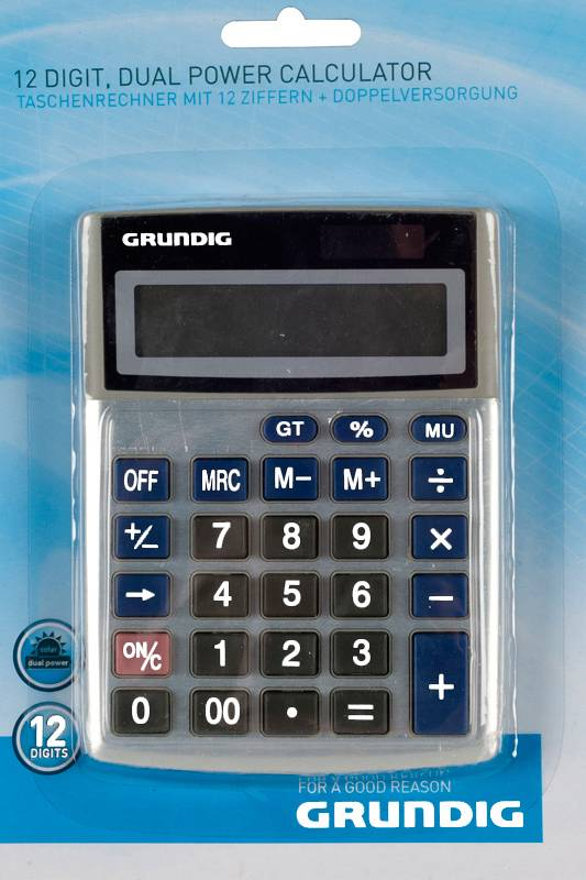 Grundig Grundig Calculator met dubbele voeding, 12 digit