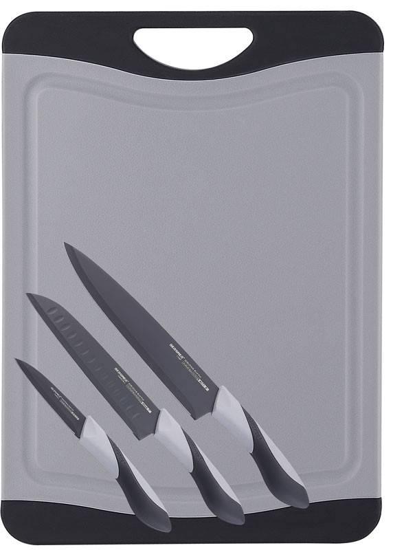 Bergner Snijbord met 3 messen (grijs)