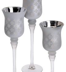 Home & Styling Home & Sling Set van 3 luxe kandelaren zilver
