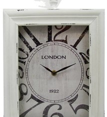 "Home & Styling Wand / tafelklok ""London"" 30x24x6 (wit)"
