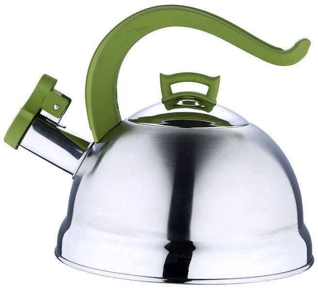 Bergner RVS fluitketel 2.5 liter (groene handgreep)