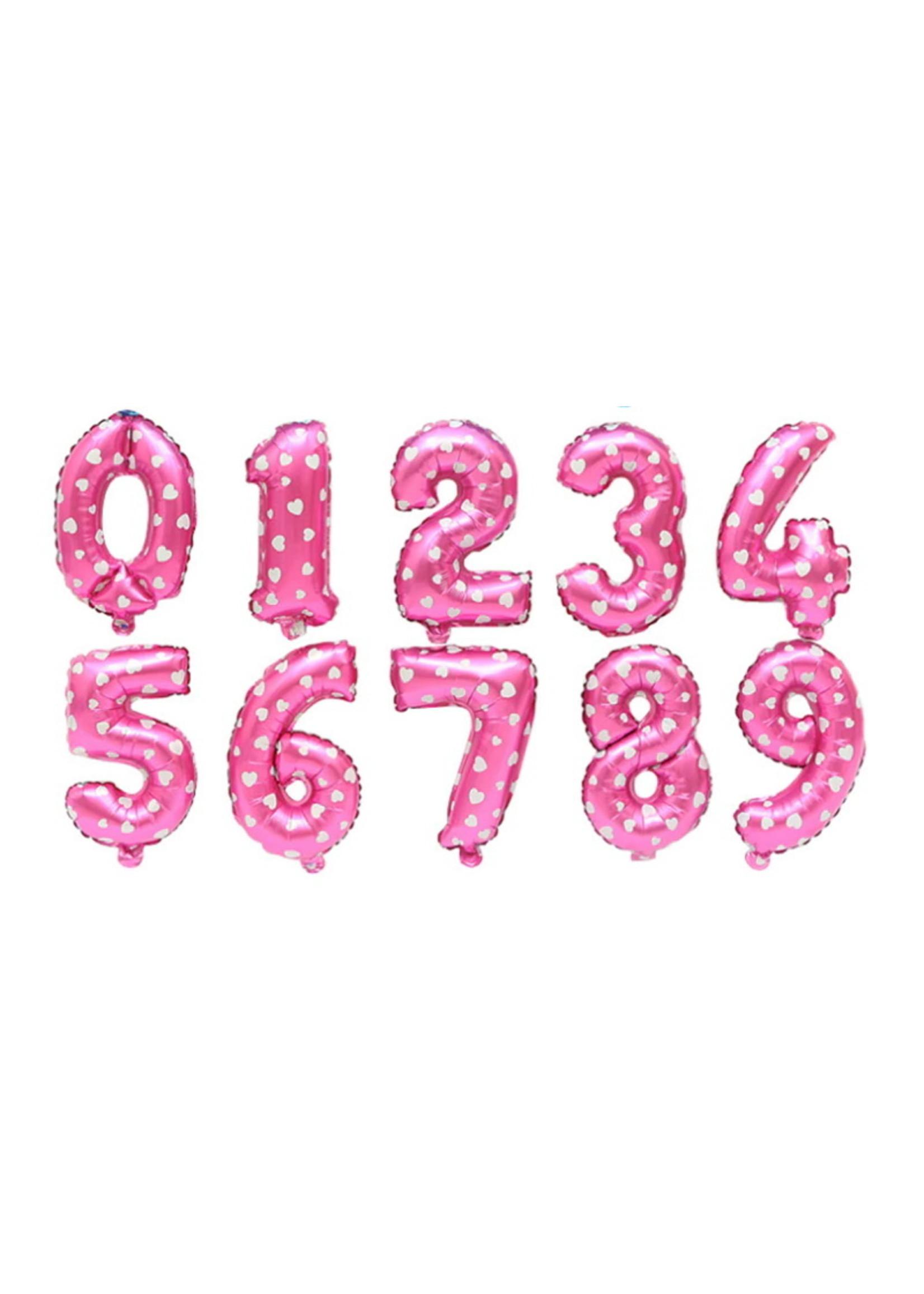 Annienas Cijfer ballon roze met hartjes