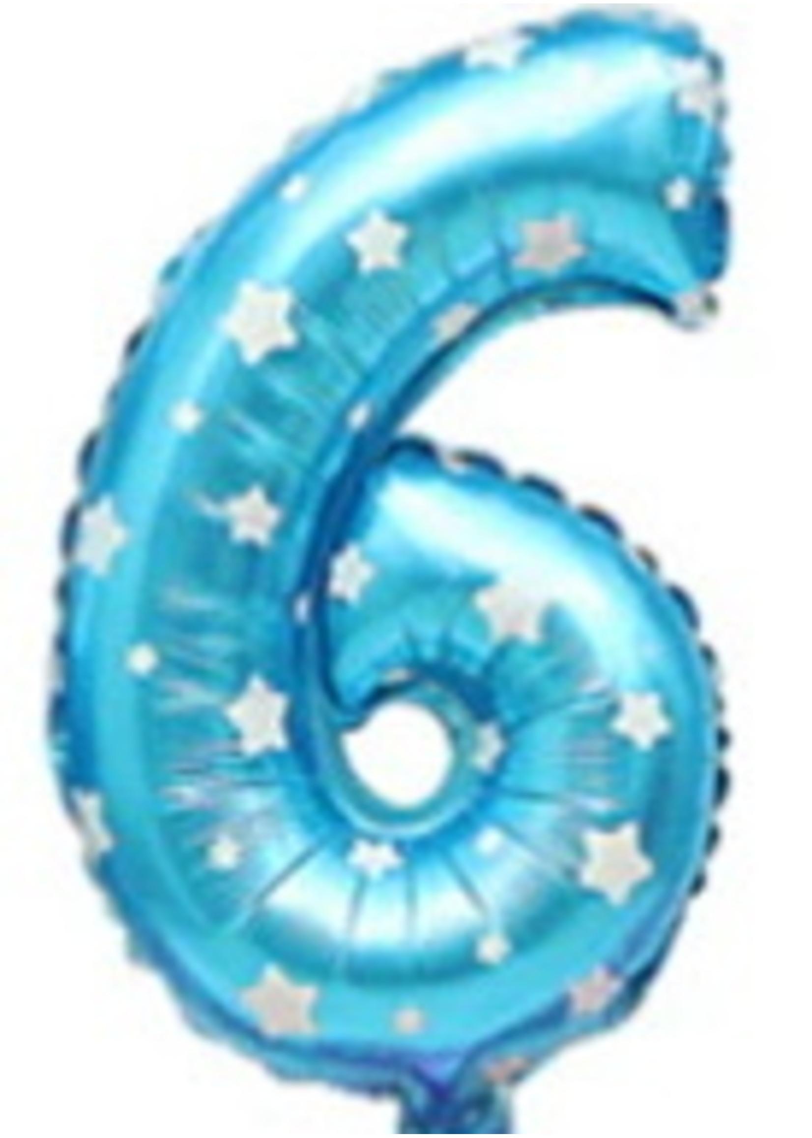 Annienas Cijfer ballon blauw met sterren