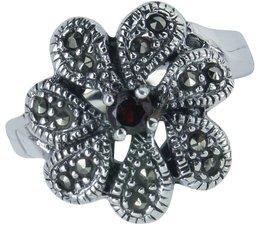 Silber mit Markasiten und Granat 17x17mm nur 54+56