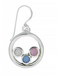 Silberohrhänger mit Stein, Perlen und ähnlichem.