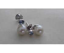 Ohrring silber synth. Aqua white Glass P1666