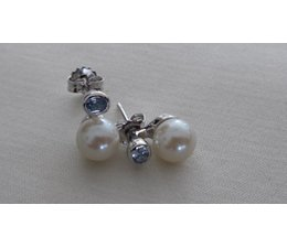 Ohrring silber mit synth. Aqua und white Glass