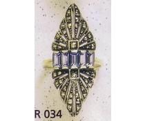 Ring Markasit P1002 Onyx - synth. Aqua