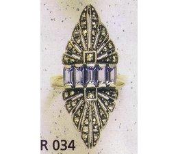 Ring Silber Markasit P1002 Onyx - synth. Aqua