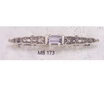 Brosche Silber Markasit synth. Aqua P1521