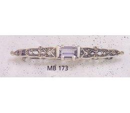 Brosche Silber 925 Markasit synth. Aqua P1521