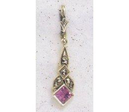 Ohrring Markasit Silber Onyx P1174
