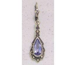 Ohrring Markasit Silber Onyx oder synth. Aqua  P1196