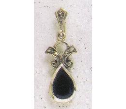 Ohrring Markasit Silber Onyx P1222
