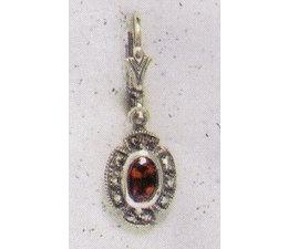 Ohrring Markasit Silber Granat P1242