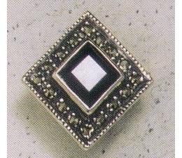 Ohrring Markasit Silber Onyx P1263