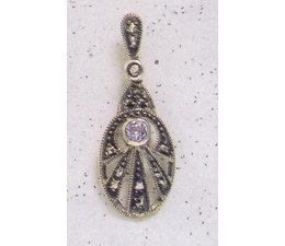 Ohrring Markasit Silber synth. Aquamarin oder Peridot  P1296
