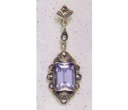 Ohrring Markasit Silber mit synth. Aqua oder Onyx P1257