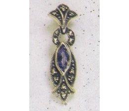 Ohrring Markasit Silber mit synth. Aqua oder Onyx P1181