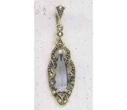 Ohrring Silber Markasit mit synth. Aqua oder Onyx P1189