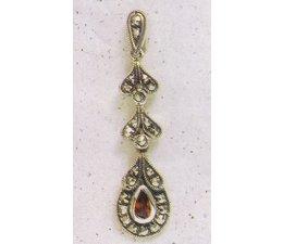 Ohrring Markasit Silber mit synth. Aqua oder Granat P1333