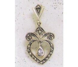 Ohrring Markasit Silber mit synth. Aqua P1860
