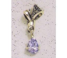 Ohrring Markasit Silber mit synth. Aqua oder Granat P1848