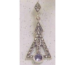 Ohrring Markasit Silber mit synth. Aqua P1812