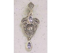Ohrring Markasit Silber mit synth. Aqua  P1816