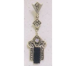 Ohrring Markasit Silber mit Onyx / Opal P1880