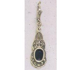 Ohrring Markasit Silber mit Peridot, synth. Aqua, Onyx, Amethyst oder Opal P1268