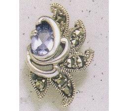 Ohrring Markasit Silber mit synth. Aqua  oder OnyxP1325