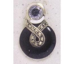Ohrring Markasit Silber mit Onyx / synth. Aqua P1252