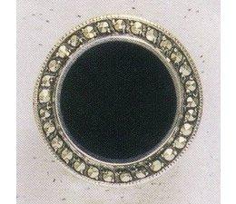 Ohrring Clip/Stecker Markasit Silber mit Onyx  P1297