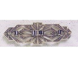 Brosche Markasit Silber mit  synth. Aqua  oder Onyx  P1489