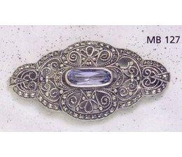 Brosche Markasit Silber mit synth. Aqua  oder Onyx  P1497