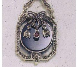 Collier Markasit Silber mit Onyx und Rubin P1465