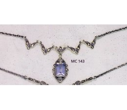 Collier Markasit Silber mit synth. Aqua P1417