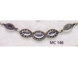Collier Markasit Silber mit synth. Aqua oder Peridot oder Bernstein oder Granat P1468