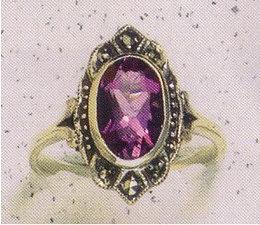 Ring Silber Markasit Amethyst synth. Aqua Bernstein Onyx  P1017