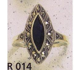 Ring Markasit Silber mit Onyx oder synth. Aqua P1034