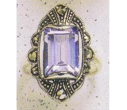 Ring Markasit Silber mit synth. Aqua oder Onyx P1042